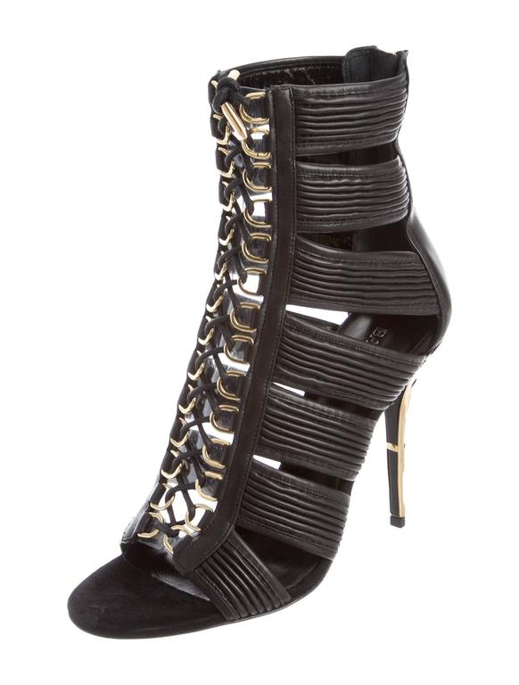 Women's Balmain NEW & SOLD OUT Runway Black Leather Lace Up Gold Heels in Box For Sale