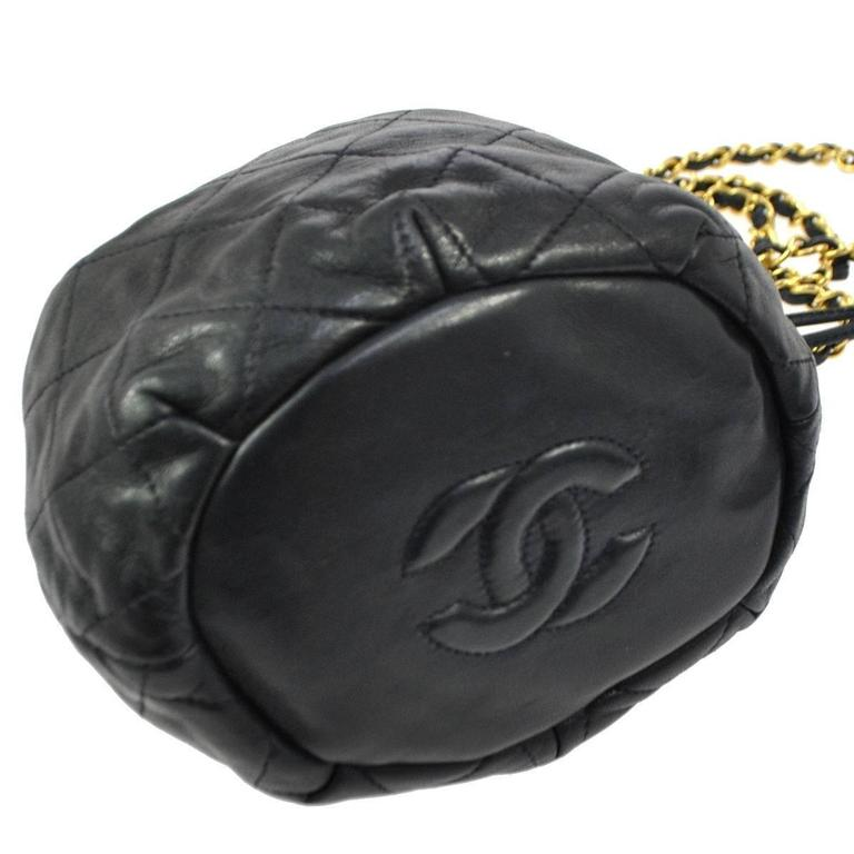 d5d7964e4c42 Black Chanel Vintage Lambskin Drawstring Party Puffy Evening Crossbody  Shoulder Bag For Sale