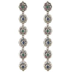 Gucci NEW & SOLD OUT Palladium Crystal Glass Dangle Evening Earrings in Box