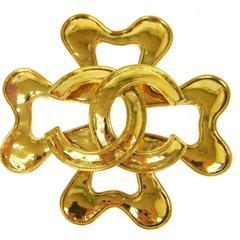 Chanel Vintage Gold Cross Charm Statement Brooch