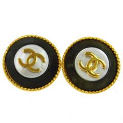 Chanel Vintage Gold Black Enamel Evening Charm Stud Earrings
