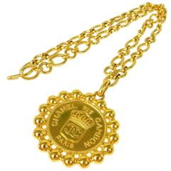 Chanel Vintage Gold Large Round Coin Charm Rue Cambon Pendant Evening Necklace