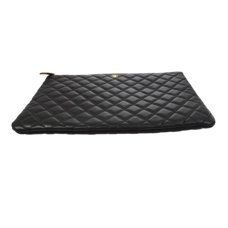 4582536f542eb2 Chanel Black Caviar Leather LapTop iPad Pouch Carryall Storage Travel  Clutch Bag For Sale 1
