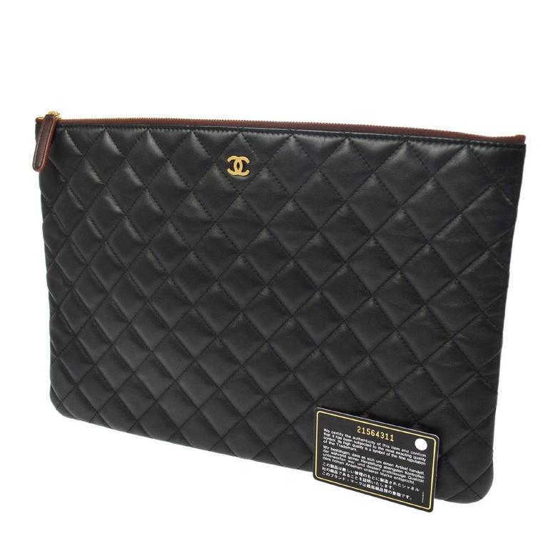 46afeab03820e8 CURATOR'S NOTES Chanel Black Caviar Leather LapTop iPad Pouch Carryall  Storage Travel Clutch Bag available at