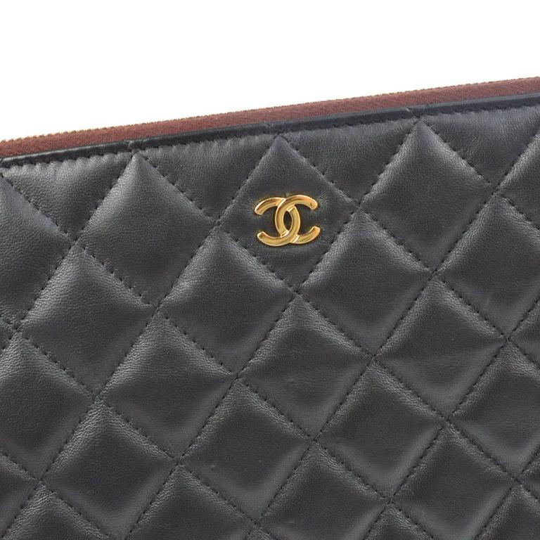 bd73cbbc4d1917 Chanel Black Caviar Leather LapTop iPad Pouch Carryall Storage Travel  Clutch Bag In Good Condition For