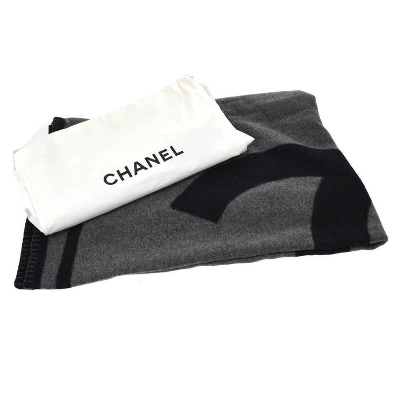 Black Chanel Throw Pillow : Chanel Black Gray Wool Decor Men s Women s Throw Blanket in Dust Bag Cover at 1stdibs