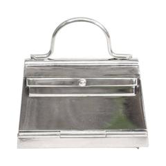 Hermes Vintage Genuine Sterling Silver Mini Kelly Top Handle Satchel Storage Bag