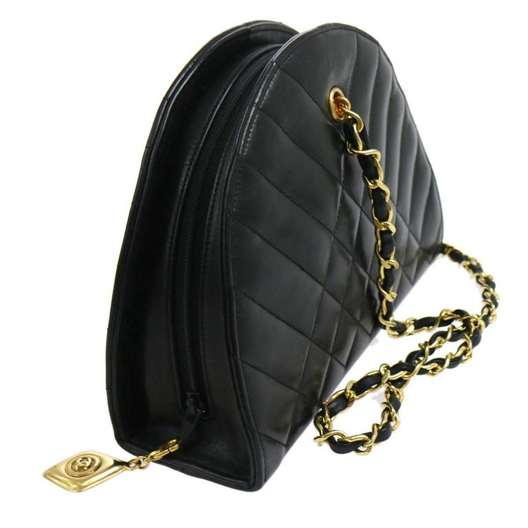 Chanel Black Lambskin Half Moon Small Top Handle Shoulder Flap Bag in Box 2