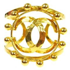 Chanel Vintage Gold Ball Detail Statement Evening Cuff Bracelet