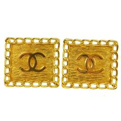 Chanel Vintage Gold Chain Square Stud Evening Earrings