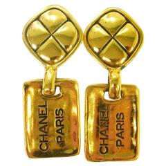 Chanel Vintage Gold Chanel Paris Dangle Drop Evening Earrings