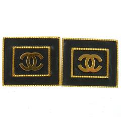 Chanel Rare Vintage Gold Black Leather Square Evening Stud Earrings