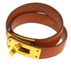 Hermes Leather Gold Double Tour Kelly Men's Women's Cuff Bracelet