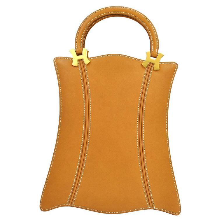 "Hermes Cognac Leather Top Handle ""H"" Satchel Evening Bag"