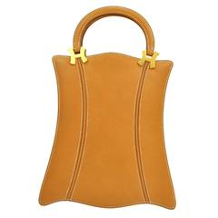 "Hermes Cognac Leather Top Handle ""H"" Satchel Evening Bag"