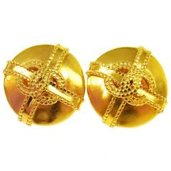 Chanel Vintage Textured Gold Stud Evening Earrings