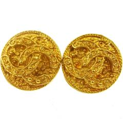 Chanel Vintage Gold Textured Stud Evening Earrings in Box