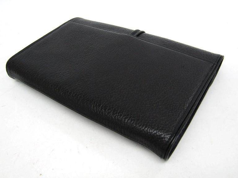 Ysl Yves Saint Laurent Vintage Black Leather Envelope