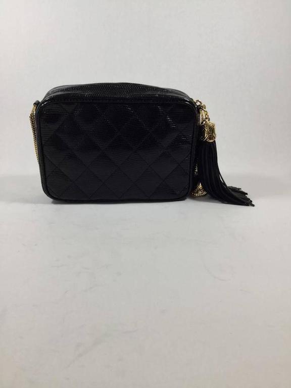 Chanel Rare Vintage Black Lizard Multi Gold Chain Camera Evening Shoulder  Bag For Sale 1 ccace486c137e