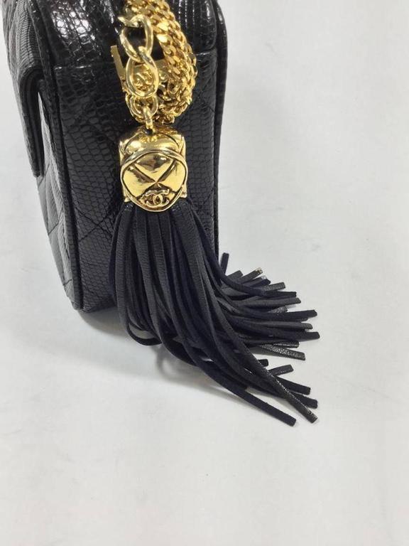 Women s Chanel Rare Vintage Black Lizard Multi Gold Chain Camera Evening  Shoulder Bag For Sale 987424d995f82