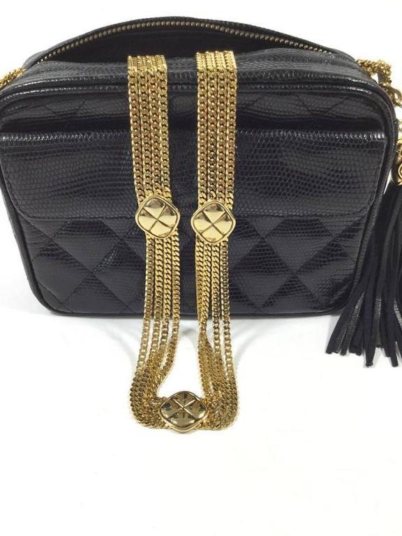 Chanel Rare Vintage Black Lizard Multi Gold Chain Camera Evening Shoulder  Bag In Excellent Condition For 484724f832e2f