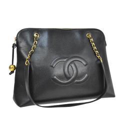 Chanel Vintage Caviar Carryall Shopper Weekender Travel Shoulder Bag