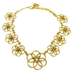 Chanel Vintage Gold Charm Flower Spiral Statement Evening Necklace