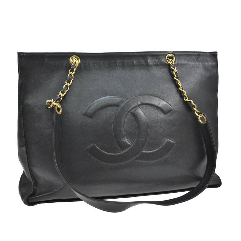 Chanel Vintage Caviar Carryall Shopper Weekender Travel Shoulder Tote Bag 1