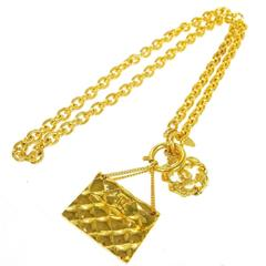 Chanel Vintage Gold Flap Bag Charm Chain Necklace
