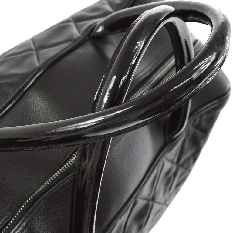 Chanel Black Leather Men's Women's Travel Bowling Duffle Top Handle Tote Bag 3