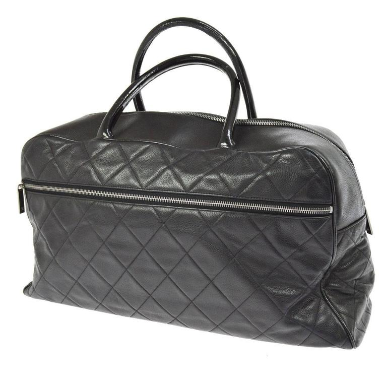 Chanel Black Leather Men's Women's Travel Bowling Duffle Top Handle Tote Bag 4