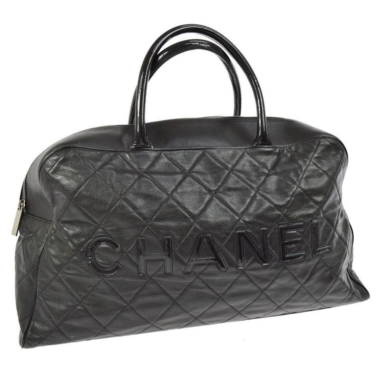 Chanel Black Leather Men's Women's Travel Bowling Duffle Top Handle Tote Bag 1