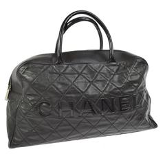Chanel Black Leather Men's Women's Travel Bowling Duffle Top Handle Tote Bag