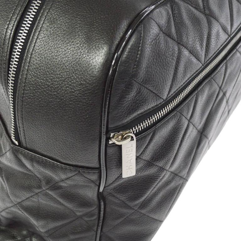 Chanel Black Leather Men's Women's Travel Bowling Duffle Top Handle Tote Bag 5