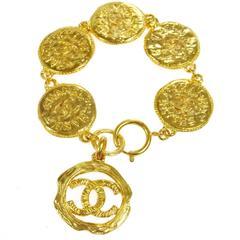 Chanel Vintage Gold Multi Coin Charm Chain Bracelet