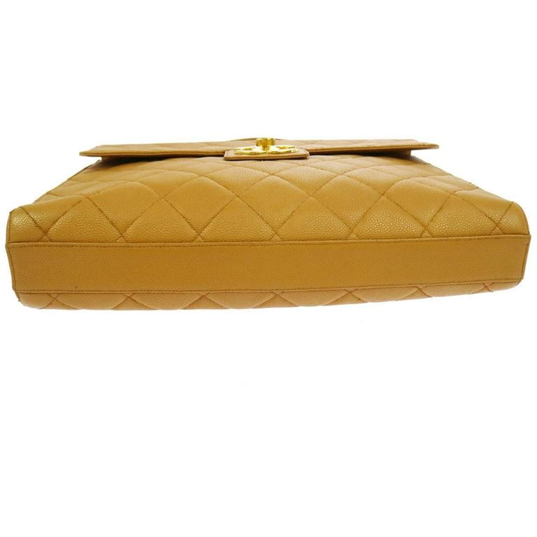 Chanel Nude Tan Caviar Leather Quilted Men's Women's Briefcase Top Handle Bag For Sale 1