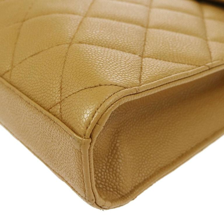Chanel Nude Tan Caviar Leather Quilted Men's Women's Briefcase Top Handle Bag For Sale 2