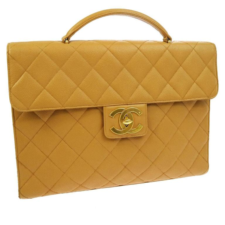 Chanel Nude Tan Caviar Leather Quilted Men s Women s Briefcase Top Handle  Bag For Sale 226caa9cb0