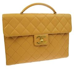 Chanel Nude Tan Caviar Leather Quilted Men's Women's Briefcase Top Handle Bag
