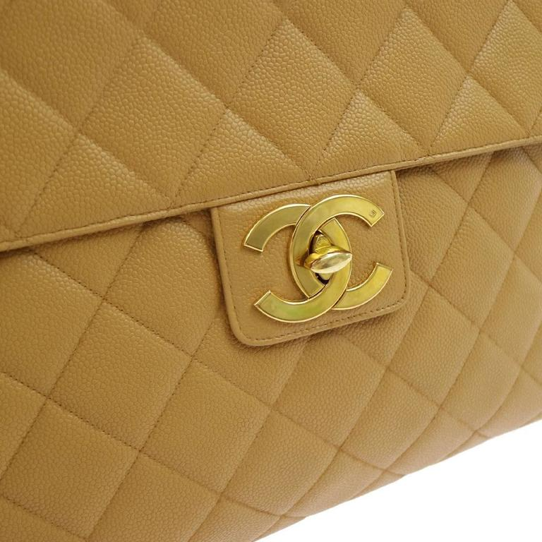 Chanel Nude Tan Caviar Leather Quilted Mens Womens -3309