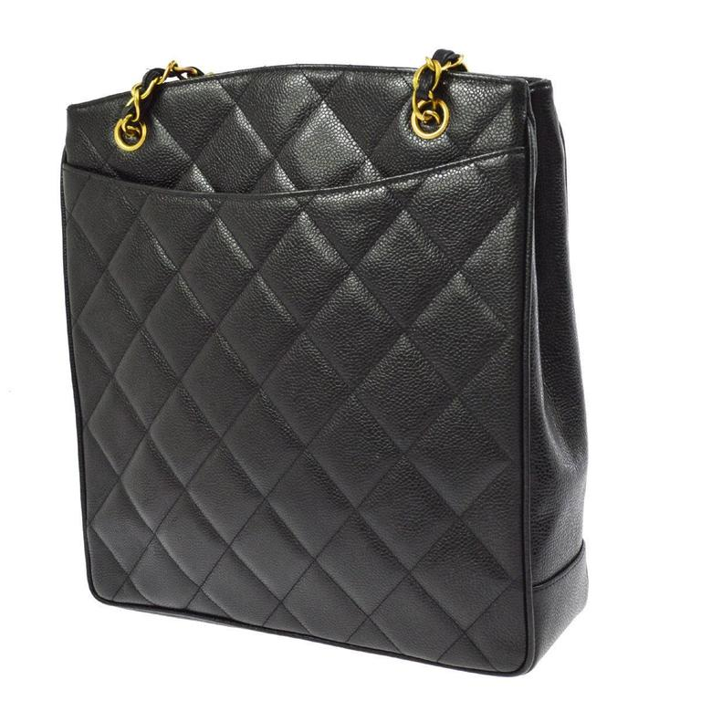 Chanel Rare Black Caviar Quilted Gold Shopper Carryall Tote Shoulder Bag 4