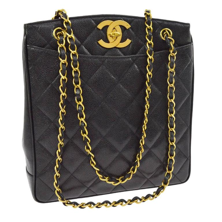 Chanel Rare Black Caviar Quilted Gold Shopper Carryall Tote Shoulder Bag 1