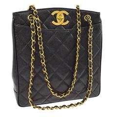 Chanel Rare Black Caviar Quilted Gold Shopper Carryall Tote Shoulder Bag