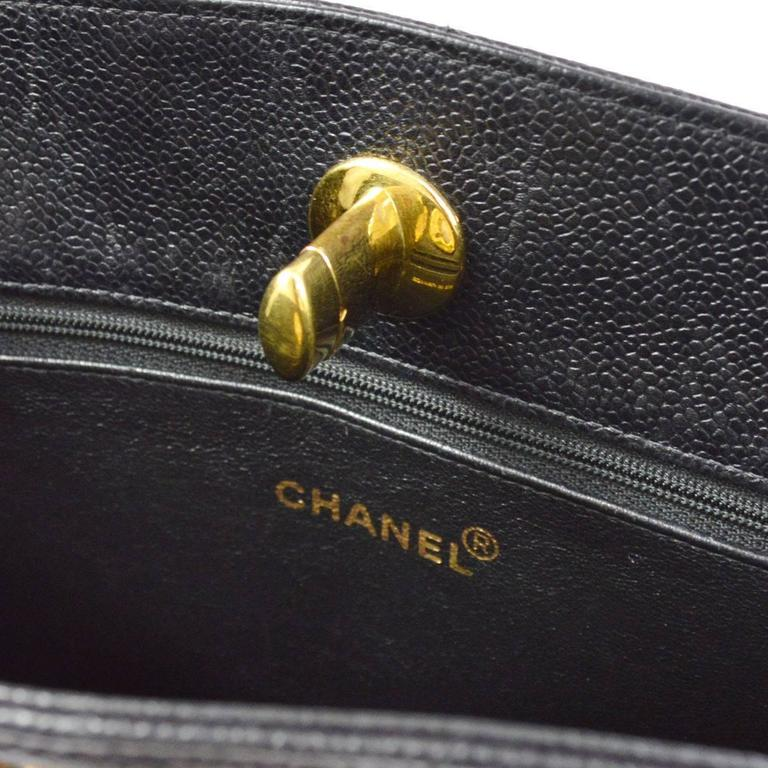 Chanel Rare Black Caviar Quilted Gold Shopper Carryall Tote Shoulder Bag 8