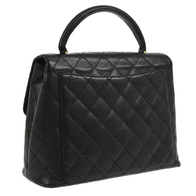 Chanel Rare Caviar Kelly Style Evening Top Handle Satchel Flap Bag 4