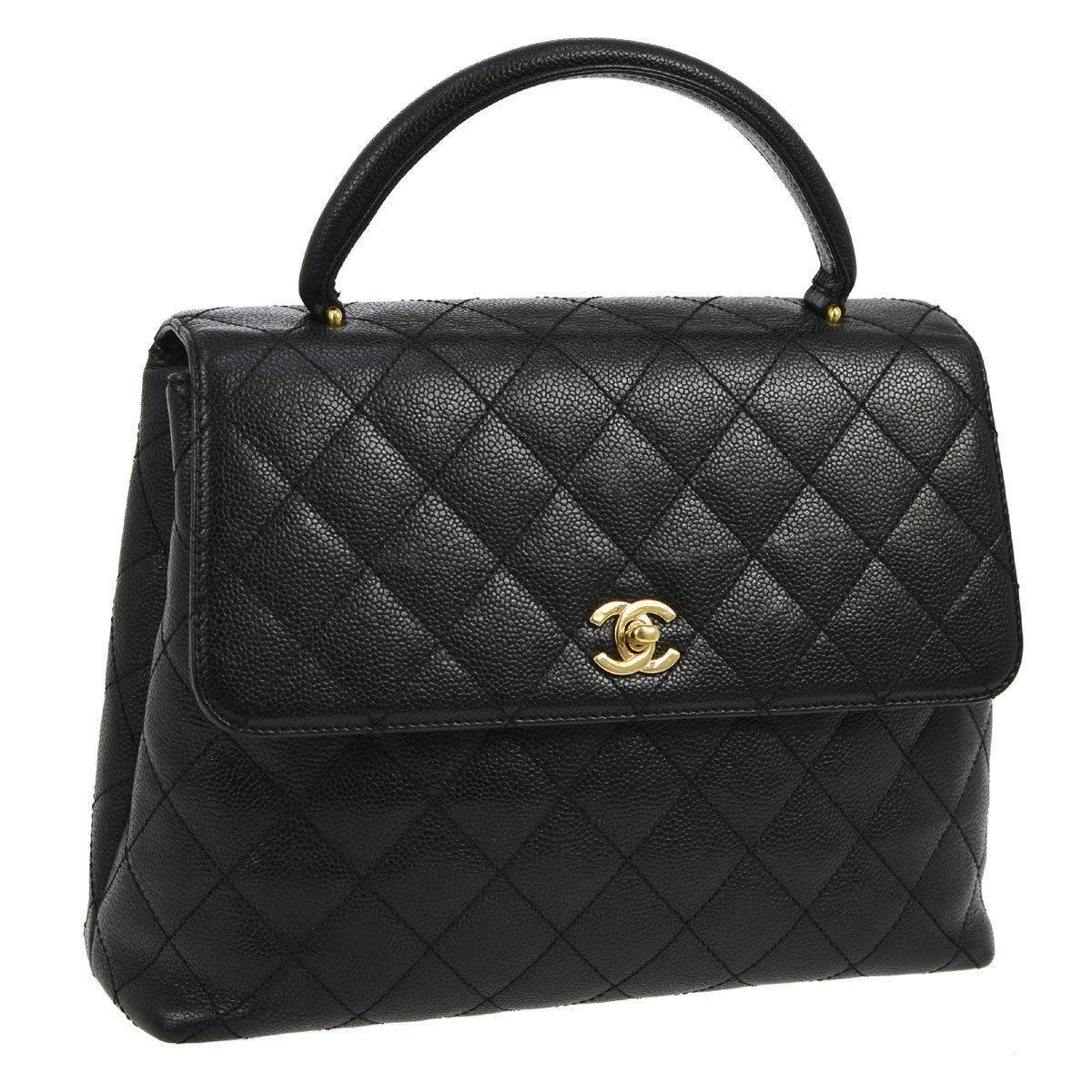 Chanel Caviar Evening Top Handle Satchel Flap Bag For Sale at 1stdibs 57d0ee478bd5c
