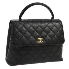Chanel Caviar Evening Top Handle Satchel Flap Bag