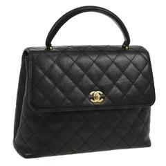 Chanel Rare Caviar Kelly Style Evening Top Handle Satchel Flap Bag