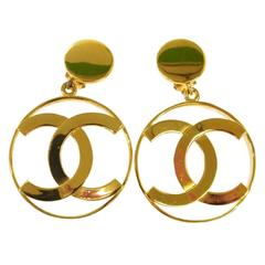 Chanel Rare Gold Oversize Doorknocker Charm Long Drape Drop Evening Earrings