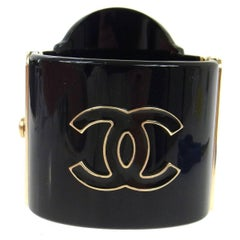 Chanel Rare Black Gold Rue Cambon Wide Evening Cuff Charm Bracelet